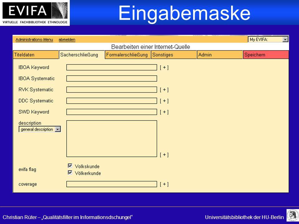 "Christian Rüter – ""Qualitätsfilter im Informationsdschungel Universitätsbibliothek der HU-Berlin Eingabemaske"
