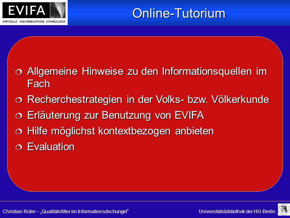 """Christian Rüter – """"Qualitätsfilter im Informationsdschungel Universitätsbibliothek der HU-Berlin  Allgemeine Hinweise zu den Informationsquellen im Fach  Recherchestrategien in der Volks- bzw."""