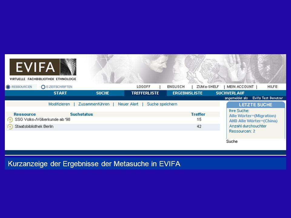 Kurzanzeige der Ergebnisse der Metasuche in EVIFA