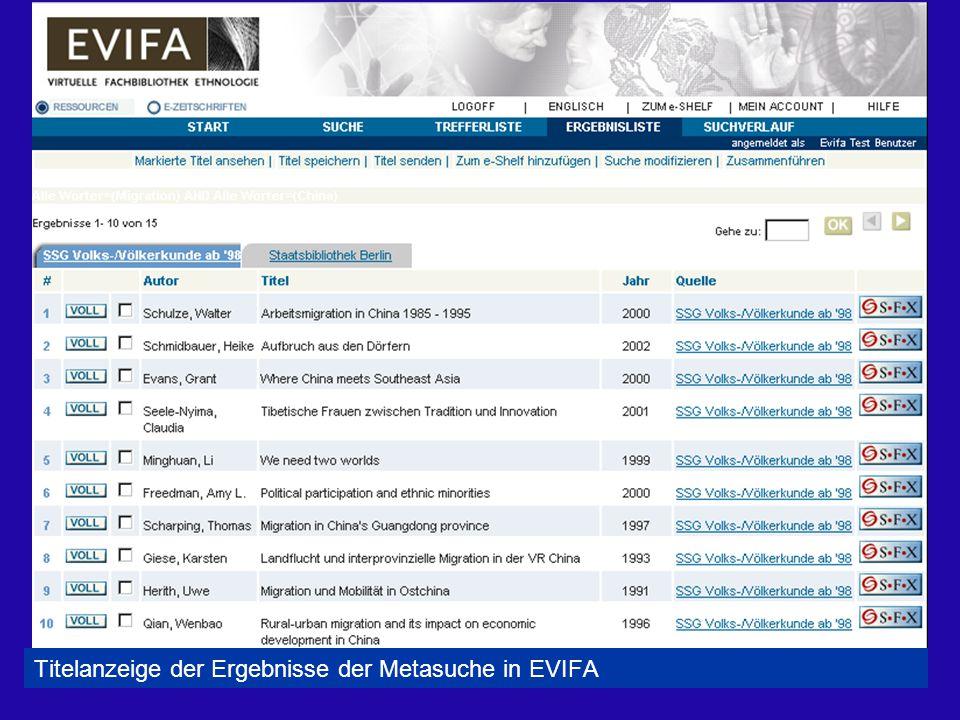 Titelanzeige der Ergebnisse der Metasuche in EVIFA