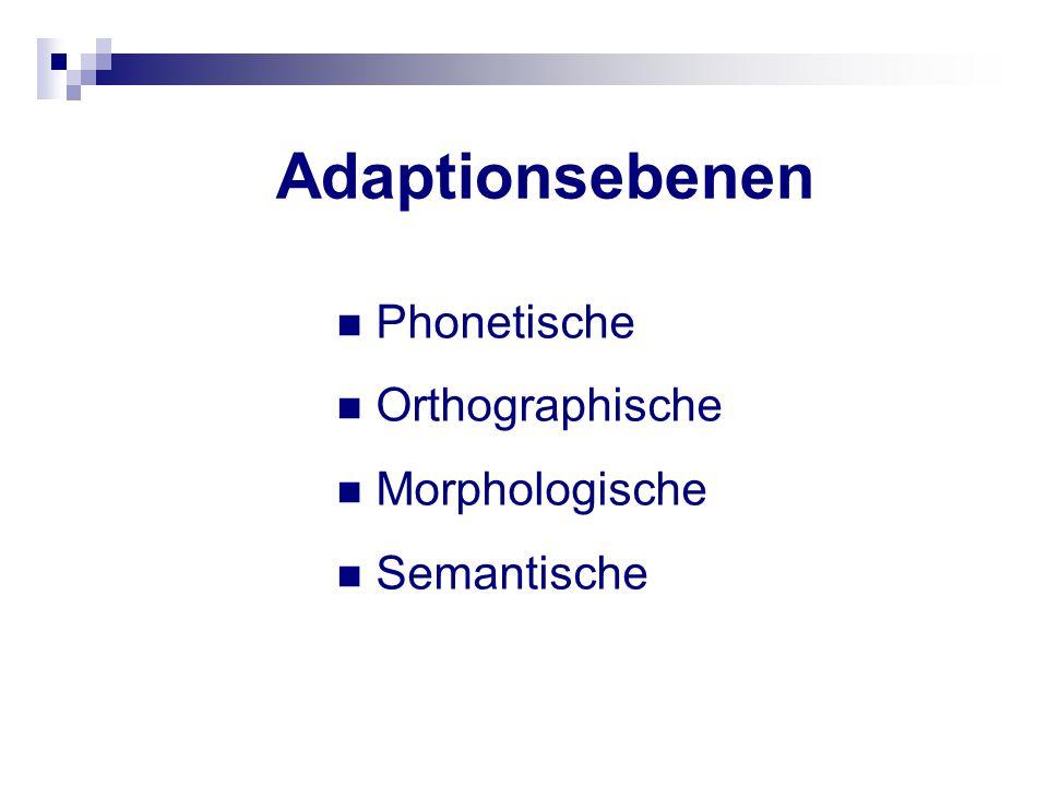 Adaptionsebenen Phonetische Orthographische Morphologische Semantische