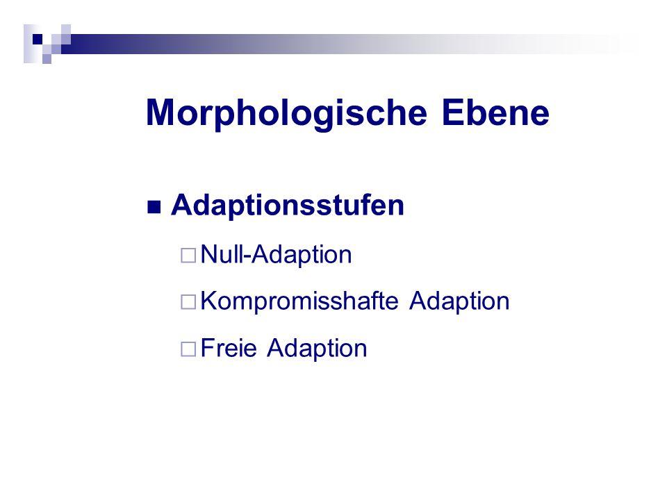 Morphologische Ebene Adaptionsstufen  Null-Adaption  Kompromisshafte Adaption  Freie Adaption