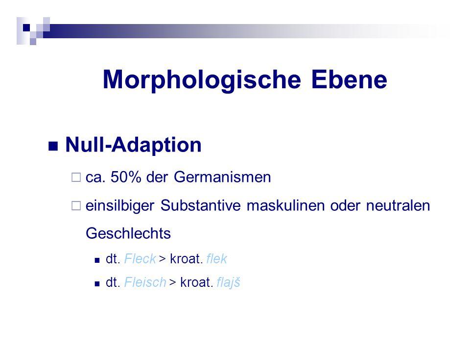 Morphologische Ebene Null-Adaption  ca. 50% der Germanismen  einsilbiger Substantive maskulinen oder neutralen Geschlechts dt. Fleck > kroat. flek d