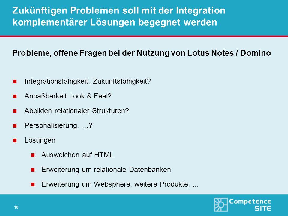 10 Zukünftigen Problemen soll mit der Integration komplementärer Lösungen begegnet werden Probleme, offene Fragen bei der Nutzung von Lotus Notes / Domino n Integrationsfähigkeit, Zukunftsfähigkeit.