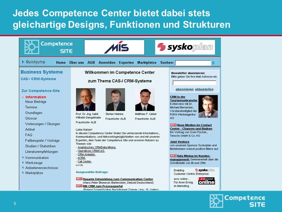 5 Jedes Competence Center bietet dabei stets gleichartige Designs, Funktionen und Strukturen