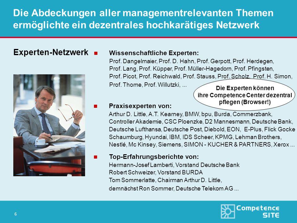 6 Die Abdeckungen aller managementrelevanten Themen ermöglichte ein dezentrales hochkarätiges Netzwerk Experten-Netzwerk n Wissenschaftliche Experten: Prof.
