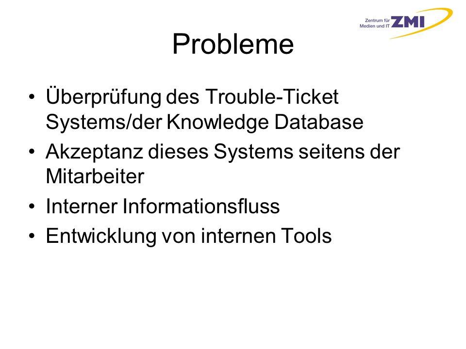 Probleme Überprüfung des Trouble-Ticket Systems/der Knowledge Database Akzeptanz dieses Systems seitens der Mitarbeiter Interner Informationsfluss Entwicklung von internen Tools