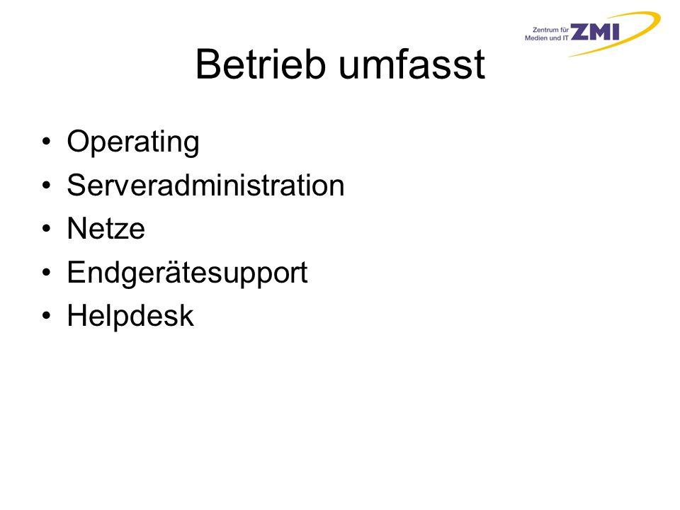 Betrieb umfasst Operating Serveradministration Netze Endgerätesupport Helpdesk