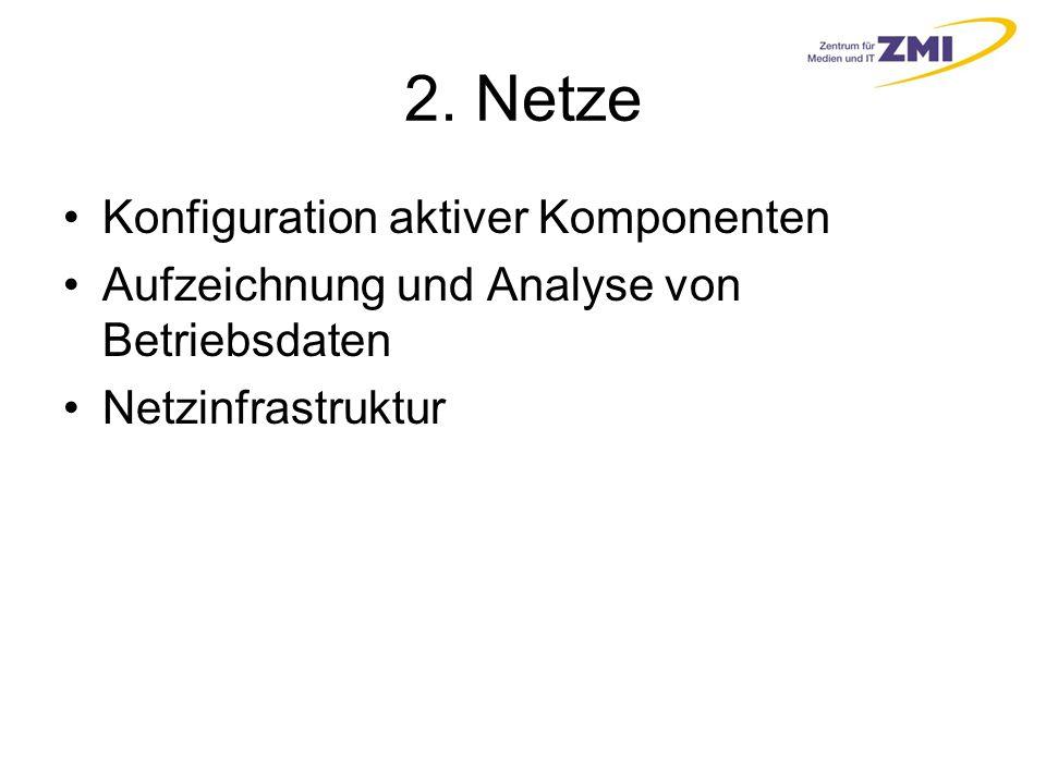 2. Netze Konfiguration aktiver Komponenten Aufzeichnung und Analyse von Betriebsdaten Netzinfrastruktur
