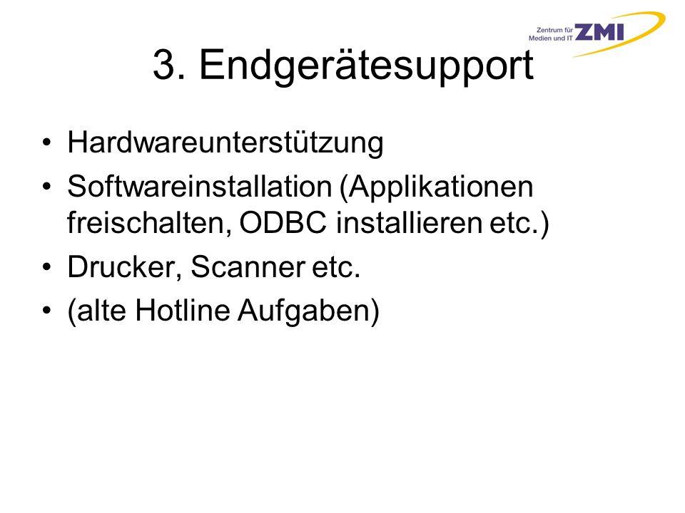 3. Endgerätesupport Hardwareunterstützung Softwareinstallation (Applikationen freischalten, ODBC installieren etc.) Drucker, Scanner etc. (alte Hotlin