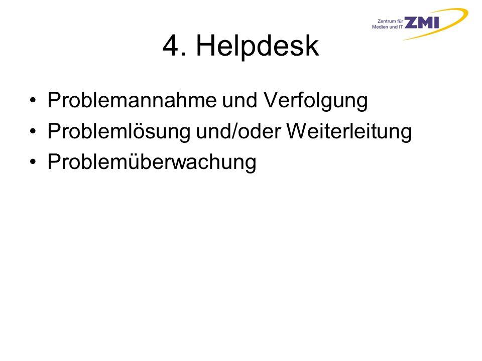 4. Helpdesk Problemannahme und Verfolgung Problemlösung und/oder Weiterleitung Problemüberwachung