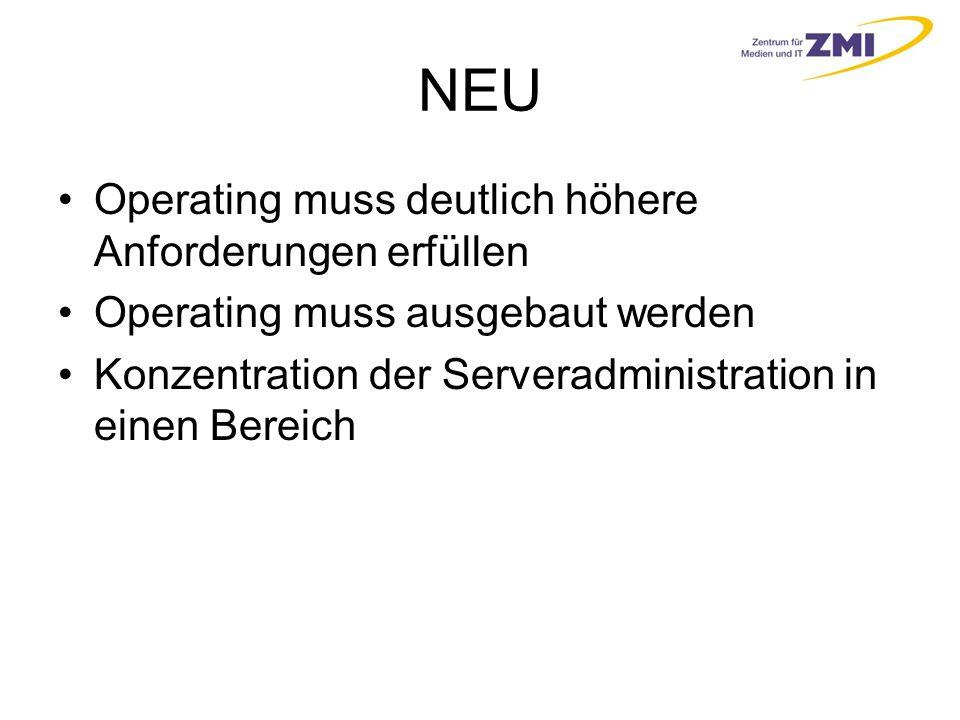 NEU Operating muss deutlich höhere Anforderungen erfüllen Operating muss ausgebaut werden Konzentration der Serveradministration in einen Bereich