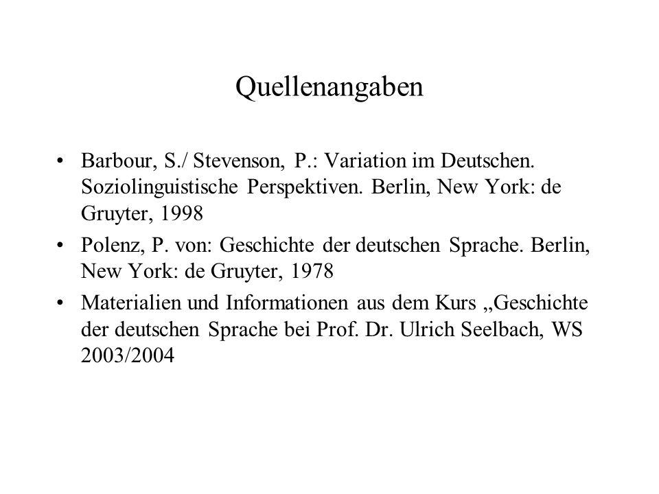 Kurs: Geschichte der Deutschen Sprache Dozent: Prof.