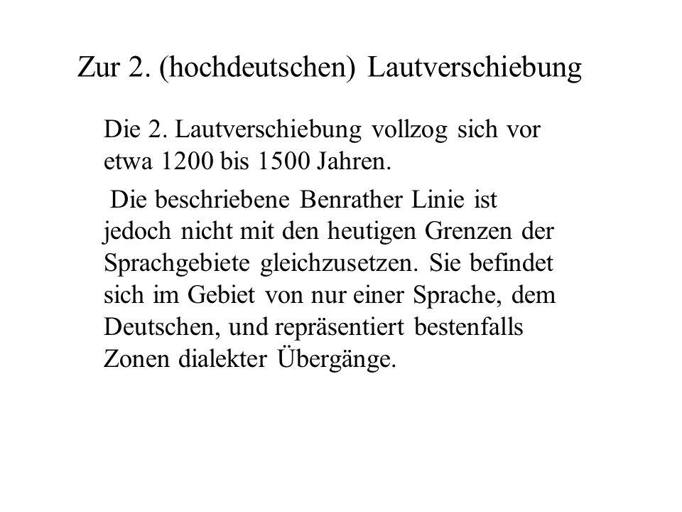 Die Westgermanischen stimmlosen Verschlusslaute p, t und k werden im Hochdeutschen zu den Affrikaten pf / f, tz / z und k / ch oder zu doppelten Frikativen, z.B.