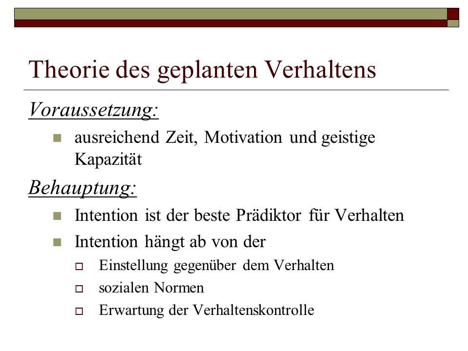 Voraussetzung: ausreichend Zeit, Motivation und geistige Kapazität Behauptung: Intention ist der beste Prädiktor für Verhalten Intention hängt ab von der  Einstellung gegenüber dem Verhalten  sozialen Normen  Erwartung der Verhaltenskontrolle
