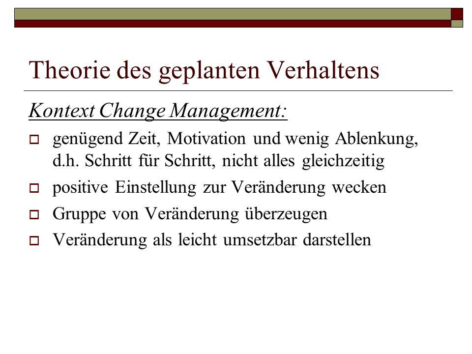 Theorie des geplanten Verhaltens Kontext Change Management:  genügend Zeit, Motivation und wenig Ablenkung, d.h.