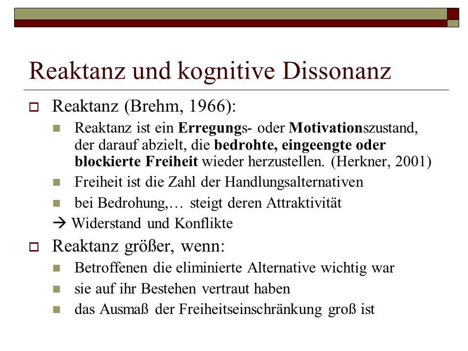 Reaktanz und kognitive Dissonanz  Reaktanz (Brehm, 1966): Reaktanz ist ein Erregungs- oder Motivationszustand, der darauf abzielt, die bedrohte, eingeengte oder blockierte Freiheit wieder herzustellen.