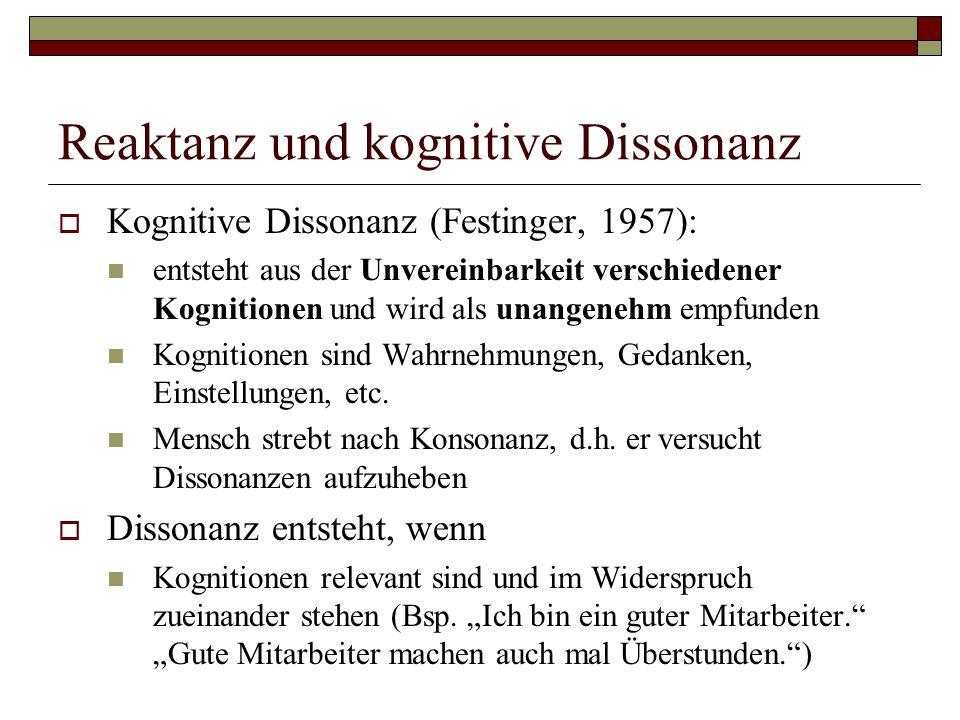 Reaktanz und kognitive Dissonanz  Kognitive Dissonanz (Festinger, 1957): entsteht aus der Unvereinbarkeit verschiedener Kognitionen und wird als unangenehm empfunden Kognitionen sind Wahrnehmungen, Gedanken, Einstellungen, etc.
