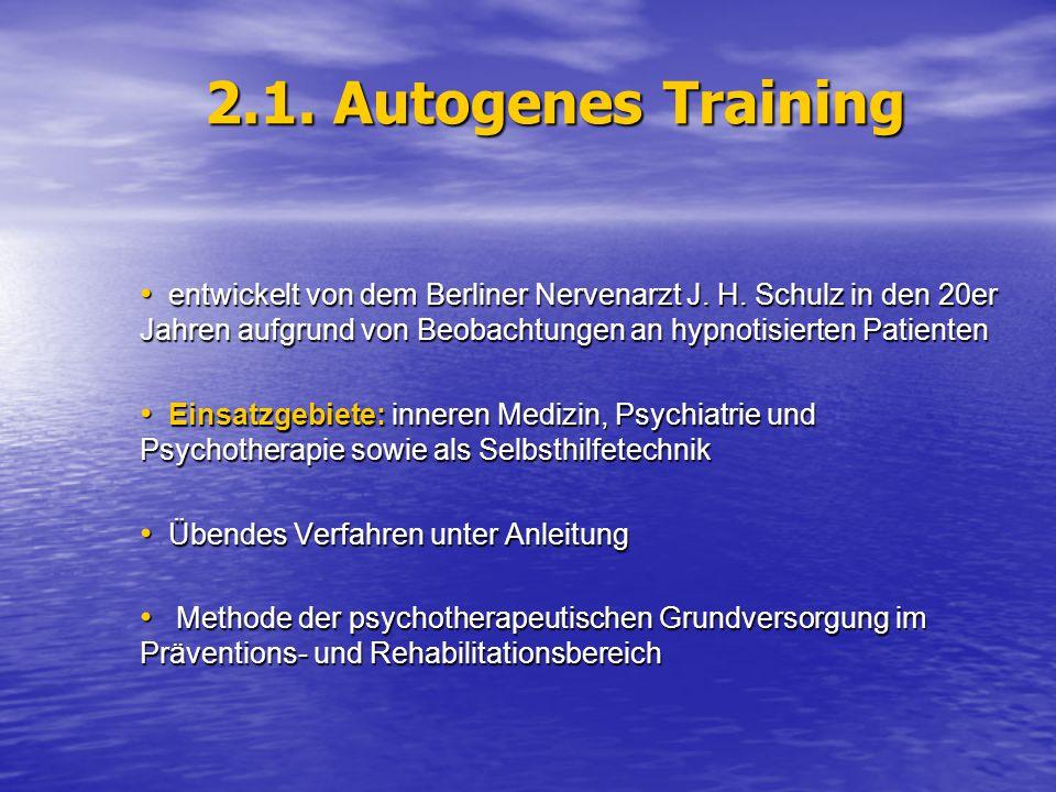 2.1.Autogenes Training entwickelt von dem Berliner Nervenarzt J.