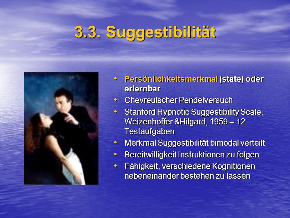 3.3. Suggestibilität Persönlichkeitsmerkmal (state) oder erlernbar Persönlichkeitsmerkmal (state) oder erlernbar Chevreulscher Pendelversuch Chevreuls