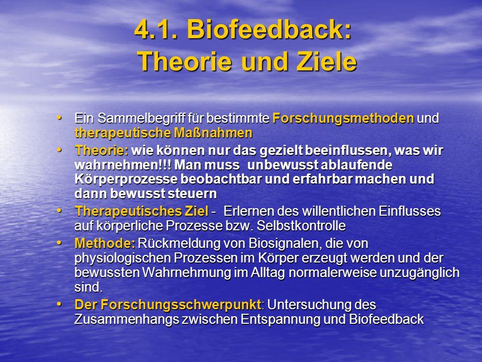 4.1. Biofeedback: Theorie und Ziele Ein Sammelbegriff für bestimmte Forschungsmethoden und therapeutische Maßnahmen Ein Sammelbegriff für bestimmte Fo