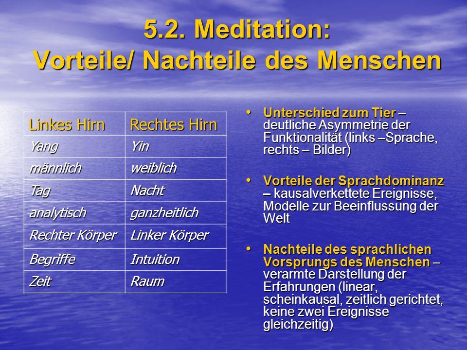 5.2. Meditation: Vorteile/ Nachteile des Menschen Unterschied zum Tier – deutliche Asymmetrie der Funktionalität (links –Sprache, rechts – Bilder) Unt