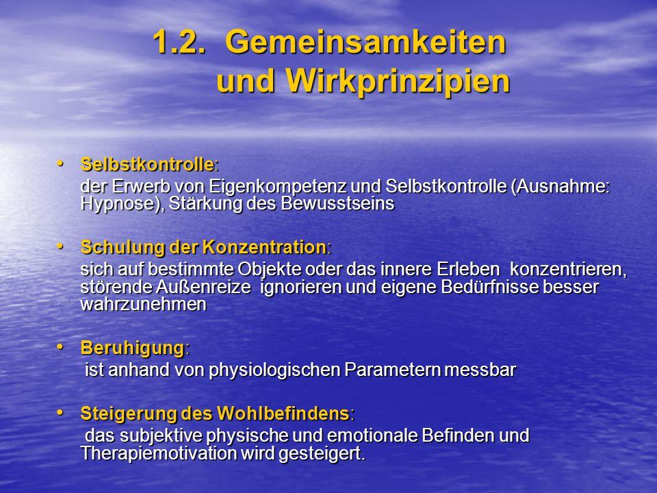1.2. Gemeinsamkeiten und Wirkprinzipien Selbstkontrolle: Selbstkontrolle: der Erwerb von Eigenkompetenz und Selbstkontrolle (Ausnahme: Hypnose), Stärk