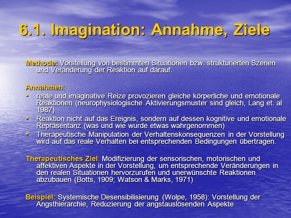 6.1.Imagination: Annahme, Ziele Methode: Vorstellung von bestimmten Situationen bzw.