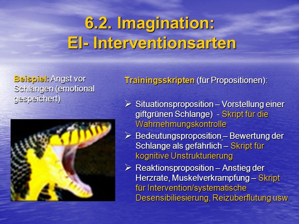 6.2. Imagination: EI- Interventionsarten Trainingsskripten (für Propositionen):  Situationsproposition – Vorstellung einer giftgrünen Schlange) - Skr