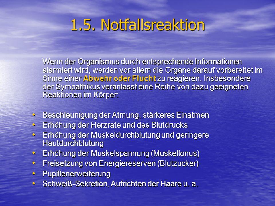 1.5. Notfallsreaktion Wenn der Organismus durch entsprechende Informationen alarmiert wird, werden vor allem die Organe darauf vorbereitet im Sinne ei