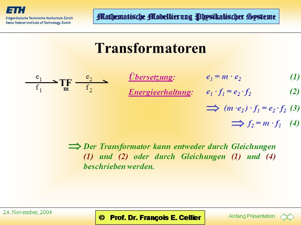 Anfang Präsentation 24. November, 2004 Transformatoren f 1 e 1 f 2 e 2 TF m Übersetzung: e 1 = m · e 2 Energieerhaltung: e 1 · f 1 = e 2 · f 2  (m ·e