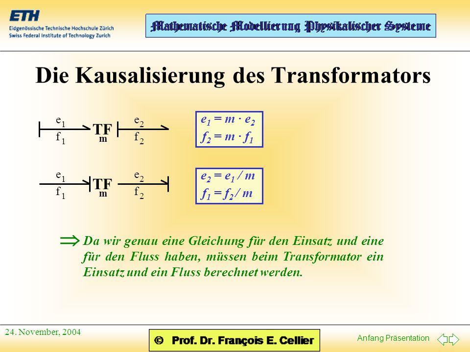Anfang Präsentation 24. November, 2004 Die Kausalisierung des Transformators f 1 e 1 f 2 e 2 TF m e 1 = m · e 2 f 2 = m · f 1 f 1 e 1 f 2 e 2 TF m e 2