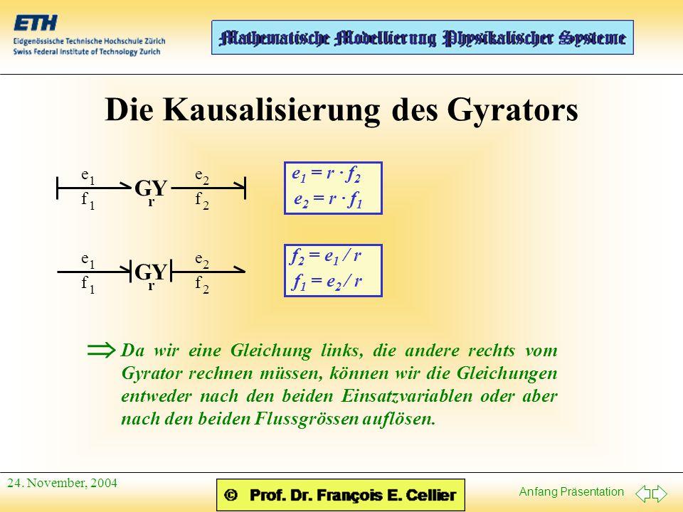 Anfang Präsentation 24. November, 2004 Die Kausalisierung des Gyrators f 1 e 1 f 2 e 2 GY r f 1 e 1 f 2 e 2 r e 1 = r · f 2 e 2 = r · f 1 f 2 = e 1 /
