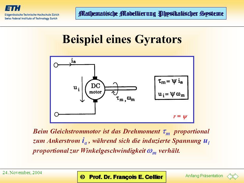 Anfang Präsentation 24. November, 2004 Beispiel eines Gyrators Beim Gleichstrommotor ist das Drehmoment  m proportional zum Ankerstrom i a, während s