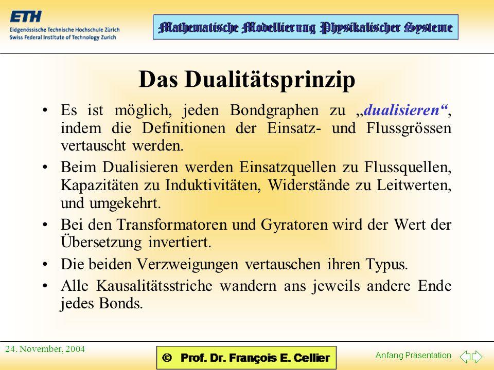 """Anfang Präsentation 24. November, 2004 Das Dualitätsprinzip Es ist möglich, jeden Bondgraphen zu """"dualisieren"""", indem die Definitionen der Einsatz- un"""
