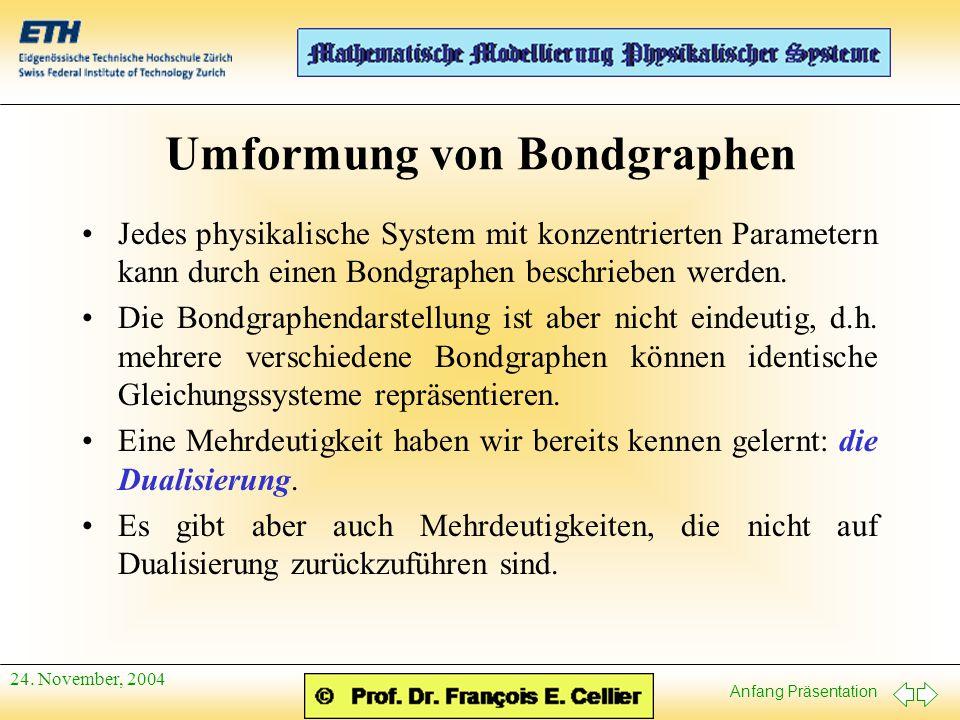 Anfang Präsentation 24. November, 2004 Umformung von Bondgraphen Jedes physikalische System mit konzentrierten Parametern kann durch einen Bondgraphen