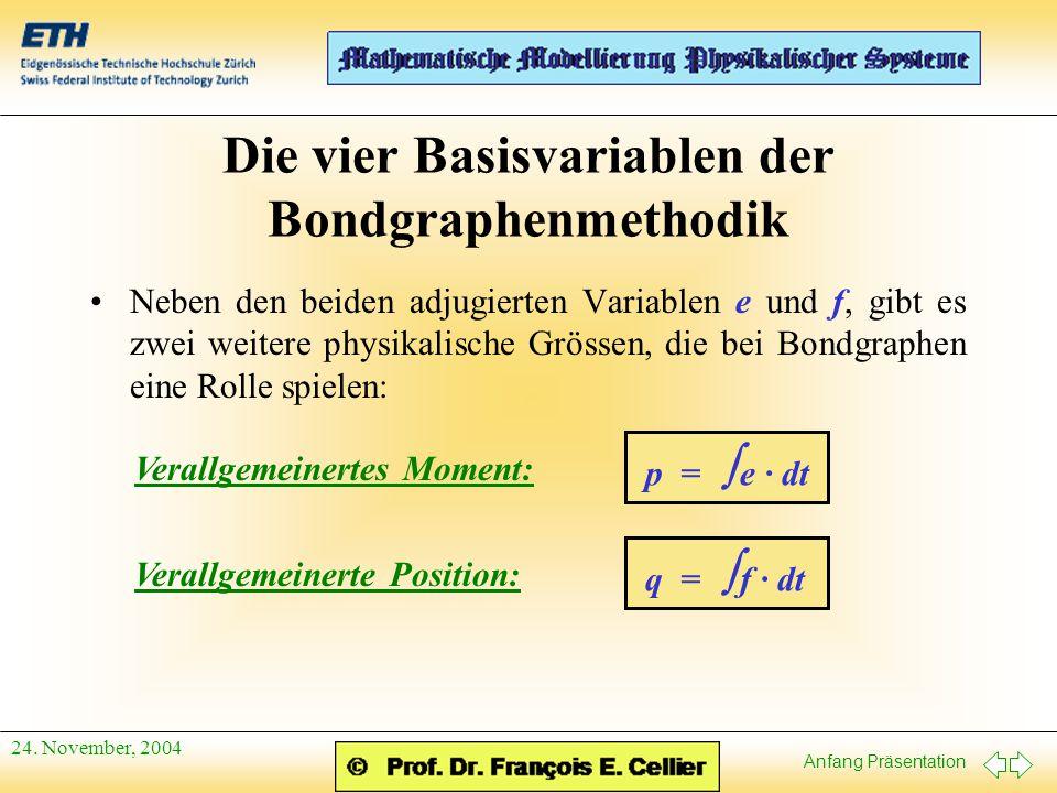 Anfang Präsentation 24. November, 2004 Die vier Basisvariablen der Bondgraphenmethodik Neben den beiden adjugierten Variablen e und f, gibt es zwei we