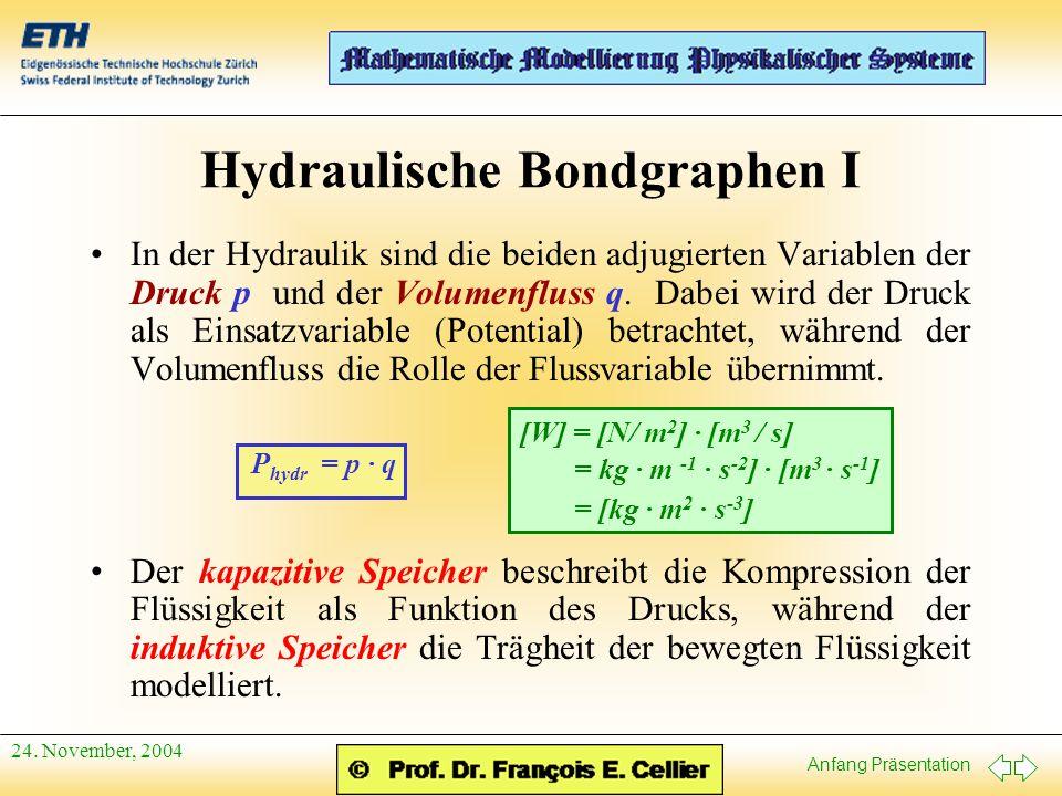 Anfang Präsentation 24. November, 2004 Hydraulische Bondgraphen I In der Hydraulik sind die beiden adjugierten Variablen der Druck p und der Volumenfl