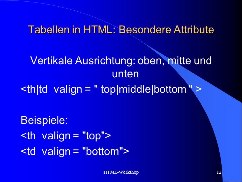HTML-Workshop12 Tabellen in HTML: Besondere Attribute Vertikale Ausrichtung: oben, mitte und unten Beispiele: