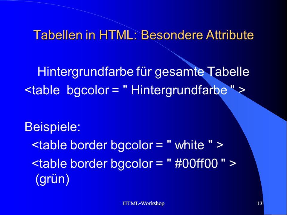 HTML-Workshop13 Tabellen in HTML: Besondere Attribute Hintergrundfarbe für gesamte Tabelle Beispiele: (grün)