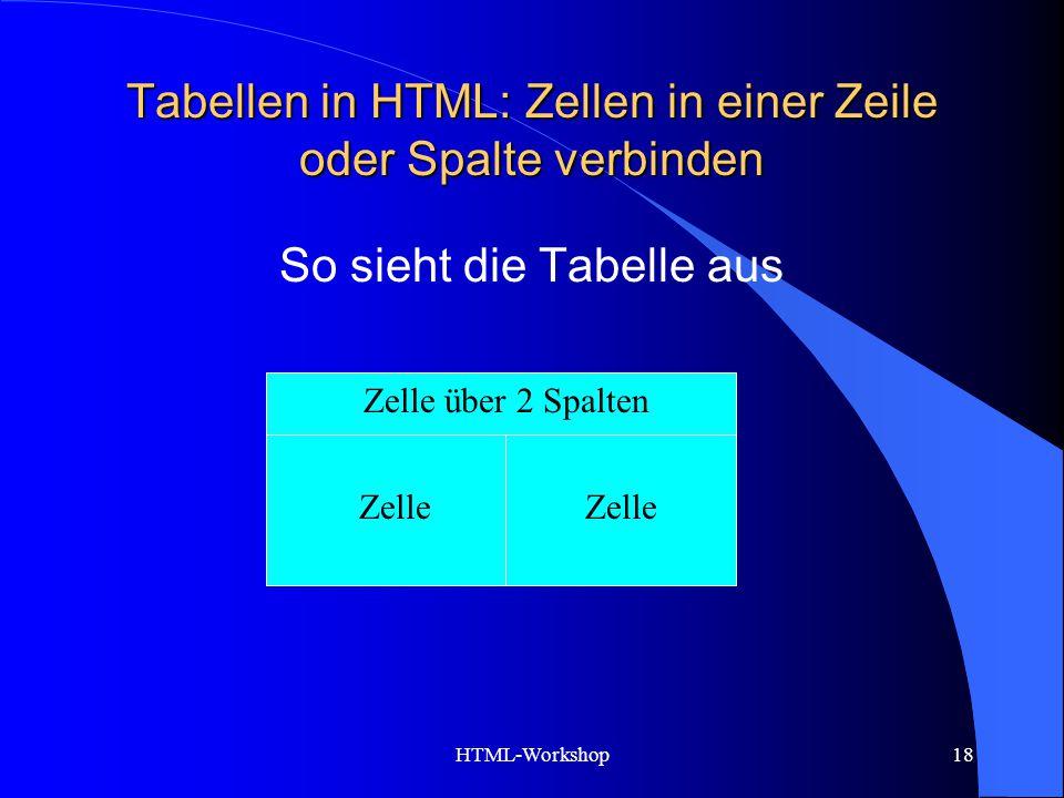 HTML-Workshop18 Tabellen in HTML: Zellen in einer Zeile oder Spalte verbinden Zelle über 2 Spalten Zelle So sieht die Tabelle aus Zelle