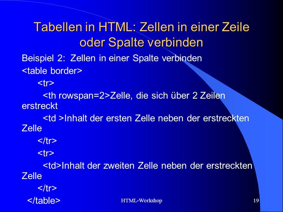 HTML-Workshop19 Tabellen in HTML: Zellen in einer Zeile oder Spalte verbinden Beispiel 2: Zellen in einer Spalte verbinden Zelle, die sich über 2 Zeil