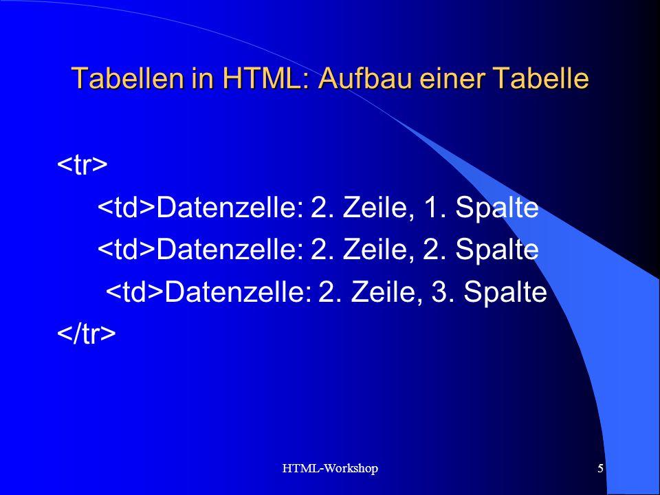 HTML-Workshop5 Tabellen in HTML: Aufbau einer Tabelle Datenzelle: 2. Zeile, 1. Spalte Datenzelle: 2. Zeile, 2. Spalte Datenzelle: 2. Zeile, 3. Spalte