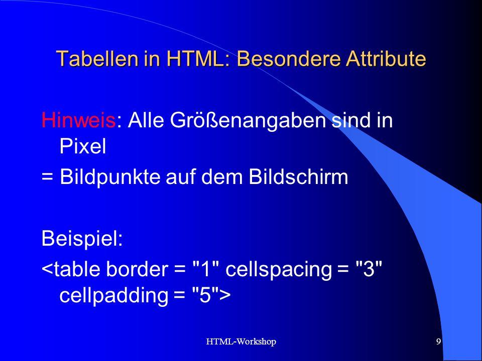 HTML-Workshop9 Tabellen in HTML: Besondere Attribute Hinweis: Alle Größenangaben sind in Pixel = Bildpunkte auf dem Bildschirm Beispiel: