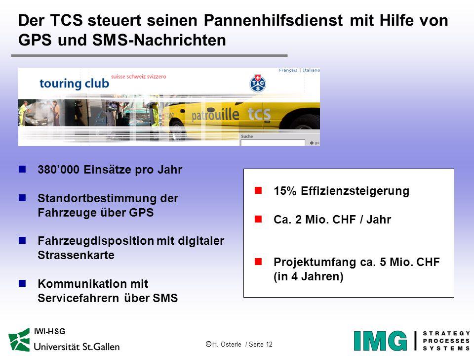  H. Österle / Seite 12 IWI-HSG Der TCS steuert seinen Pannenhilfsdienst mit Hilfe von GPS und SMS-Nachrichten 380'000 Einsätze pro Jahr Standortbesti