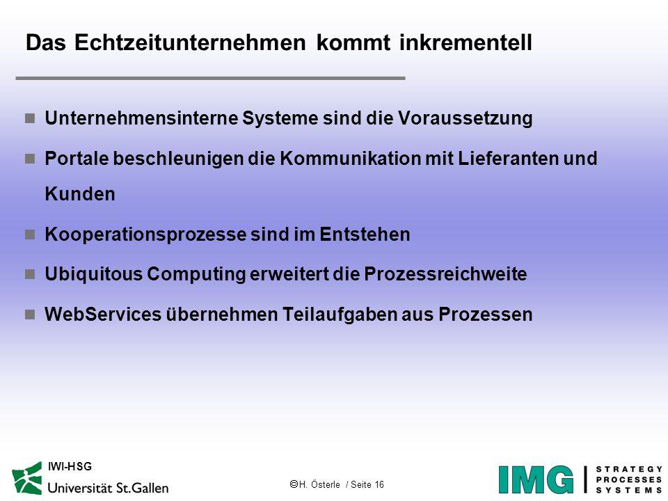  H. Österle / Seite 16 IWI-HSG Das Echtzeitunternehmen kommt inkrementell Unternehmensinterne Systeme sind die Voraussetzung Portale beschleunigen di
