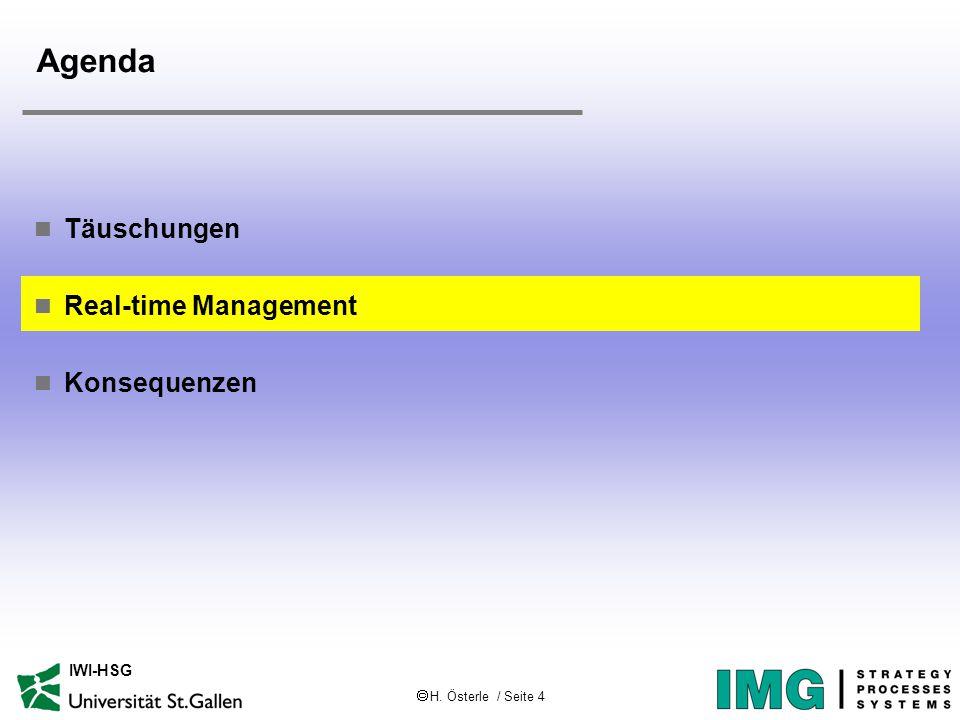  H. Österle / Seite 15 IWI-HSG Agenda Täuschungen Real-time Management Konsequenzen