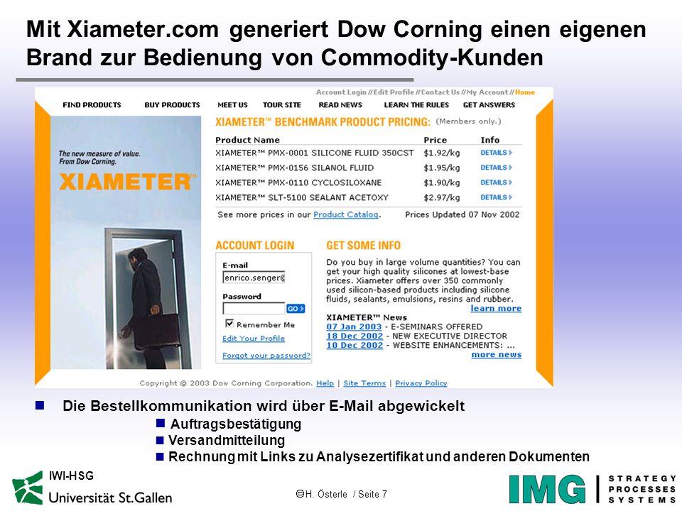  H. Österle / Seite 7 IWI-HSG Mit Xiameter.com generiert Dow Corning einen eigenen Brand zur Bedienung von Commodity-Kunden Die Bestellkommunikation