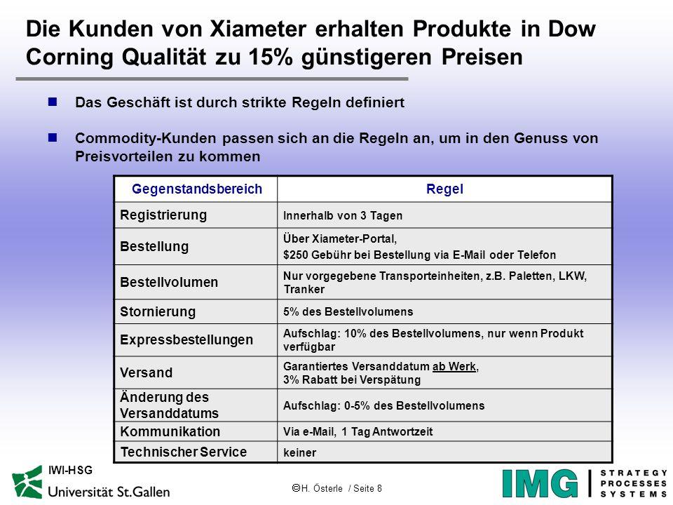  H. Österle / Seite 8 IWI-HSG Die Kunden von Xiameter erhalten Produkte in Dow Corning Qualität zu 15% günstigeren Preisen Das Geschäft ist durch str