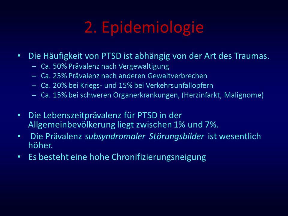 2. Epidemiologie Die Häufigkeit von PTSD ist abhängig von der Art des Traumas. – Ca. 50% Prävalenz nach Vergewaltigung – Ca. 25% Prävalenz nach andere